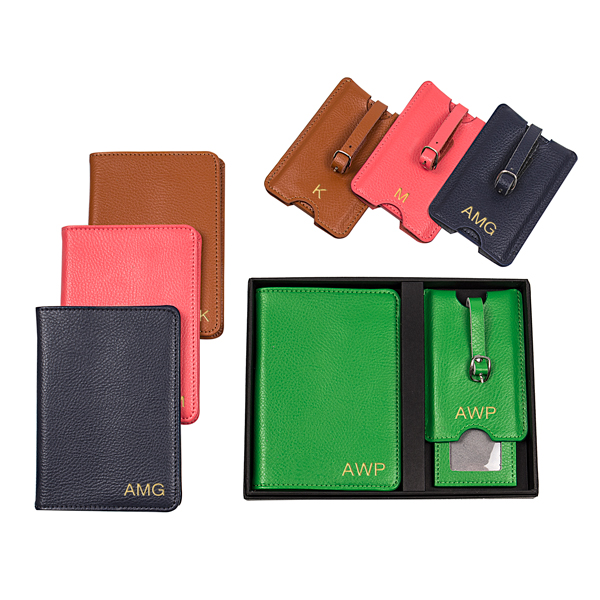 aa523bc1090 Opentip.com  Cathy s Concepts 3805 Personalized Leather Passport Holder   Luggage  Tag Set
