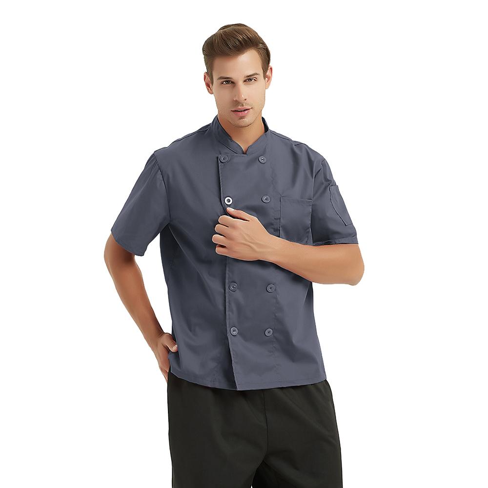 TopTie Unisex Short Sleeve Chef Coat Jacket, Dark Gray
