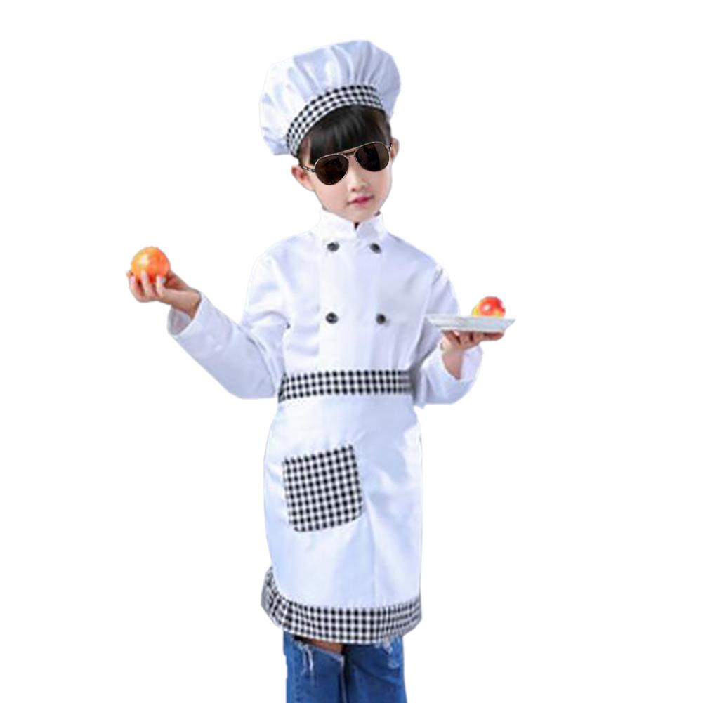 TopTie Child White Long Sleeve Chef Coat