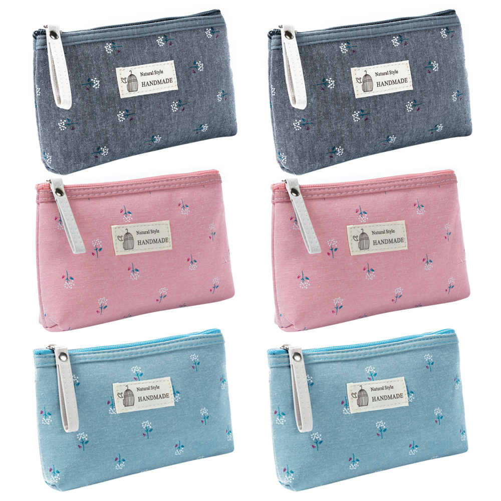 Opentip.com: Aspire 6-Pack Flower Floral Makeup Bags, Canvas Zipper ...