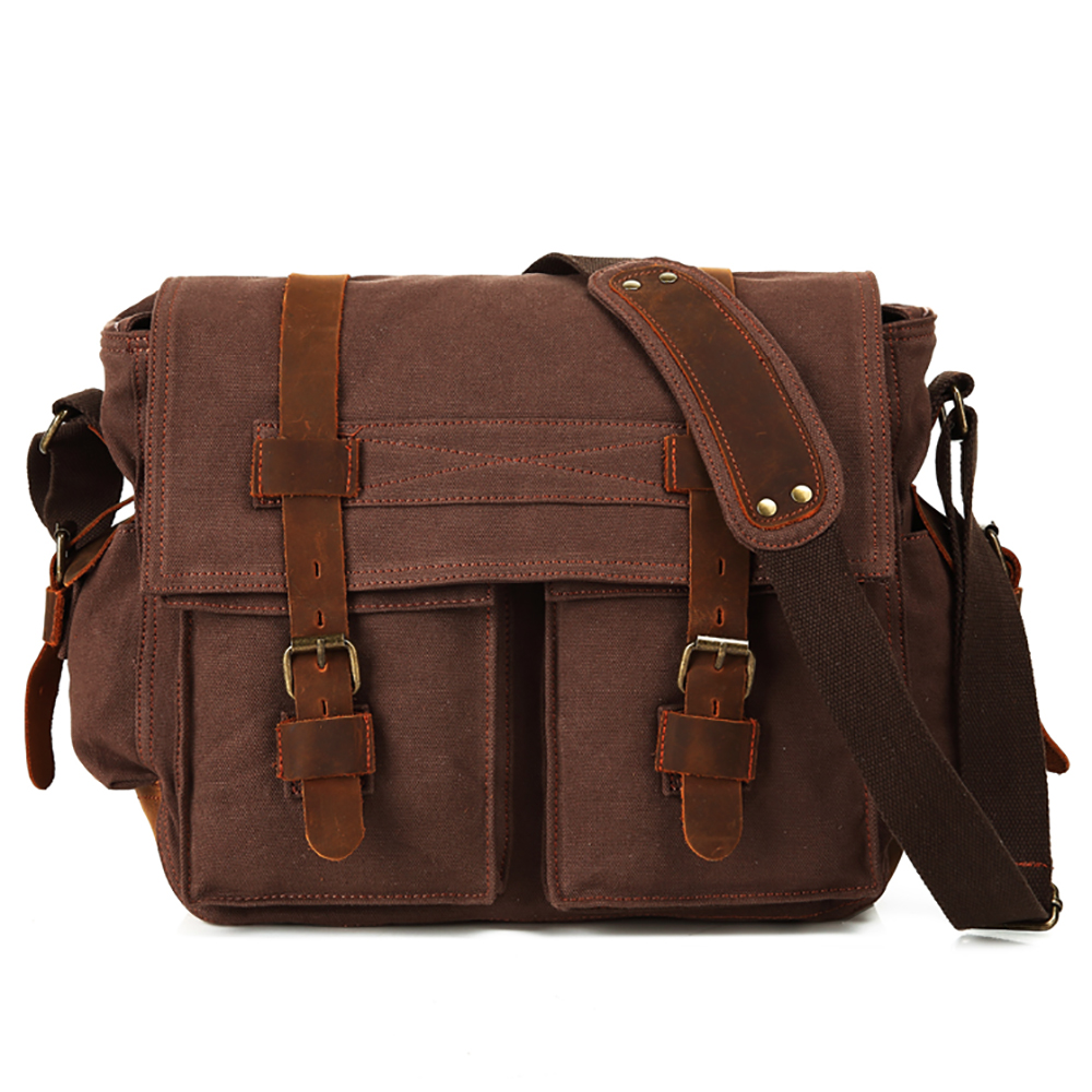 dfea30a0e5bb Opentip.com  15 Inch Laptop Messenger Bag Canvas Leather Satchel Crossbody  Briefcase for Men