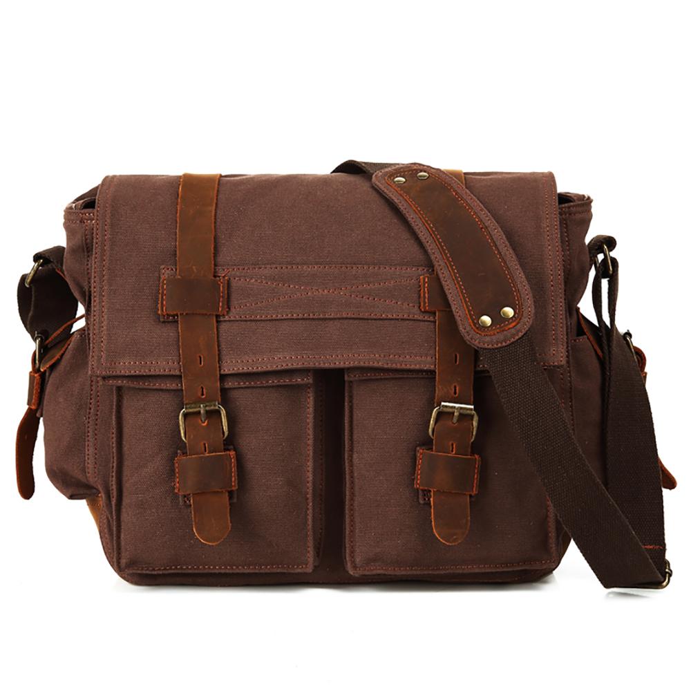 f06143c2beb4 Opentip.com  15 Inch Laptop Messenger Bag Canvas Leather Satchel Crossbody  Briefcase for Men