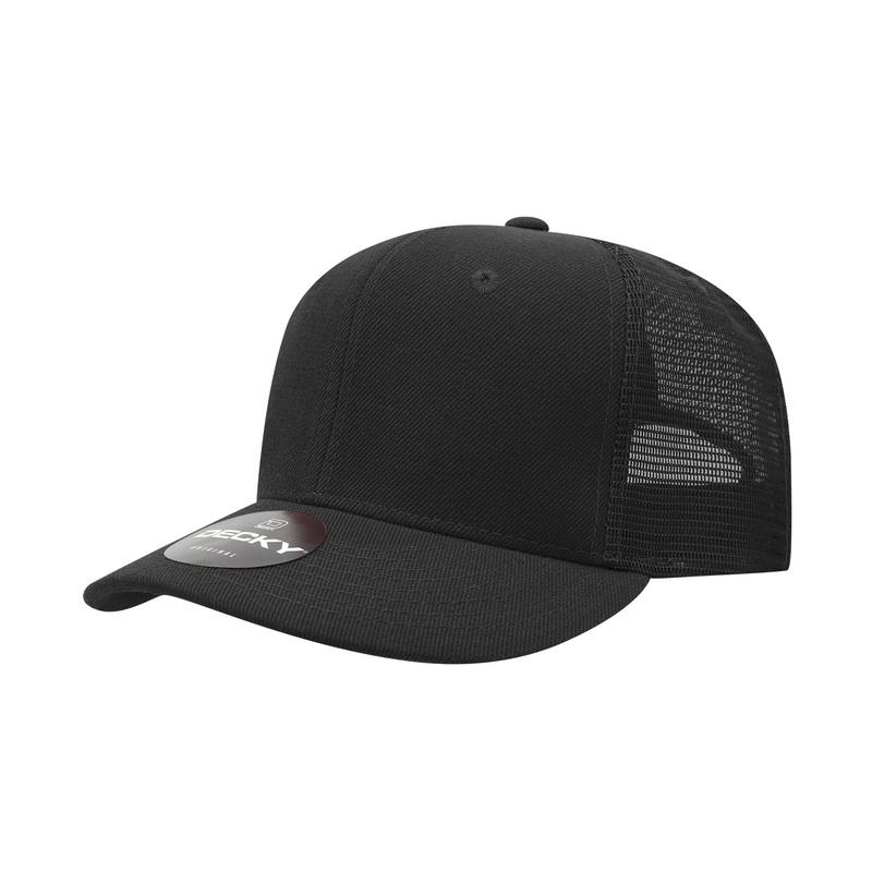 03cb65a9e Decky 1053 BLK 6 Panel CURVE Bill Trucker Caps Embroidery