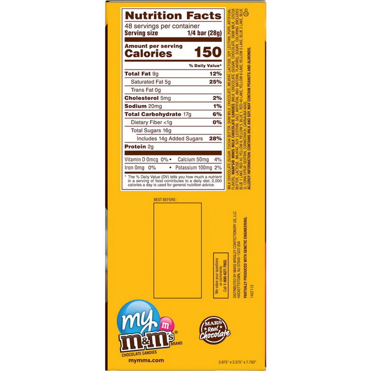 M M S Milk Chocolate Bars With Mini M M S 4 Ounces Per Pack 12 Per Case Price Case Sale Reviews Opentip