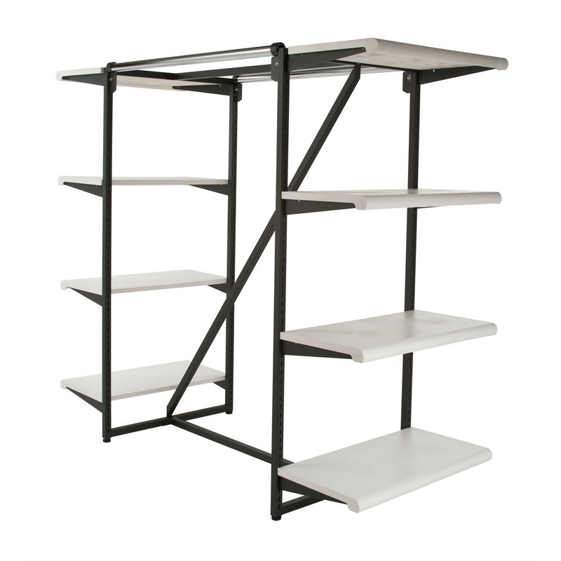 Opentip Econoco K411 W Double Hangrail Frame 8 24 Shelves 1 Square Tubing Wide Matte Black With White Price
