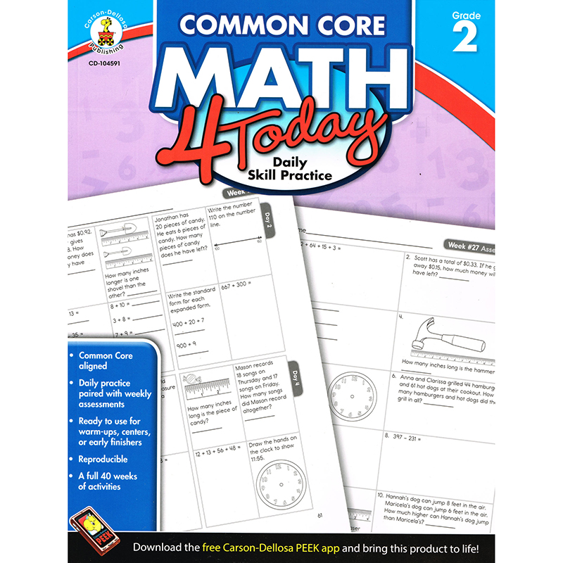 Opentip.com: Carson Dellosa CD-104591 Math 4 Today Gr 2, Price/EA