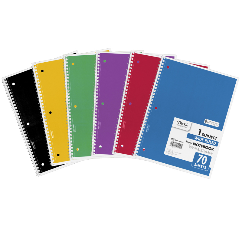 Mead Products MEA05510 Notebook Spiral Single Subject 70Ct 10 1/2 X 8