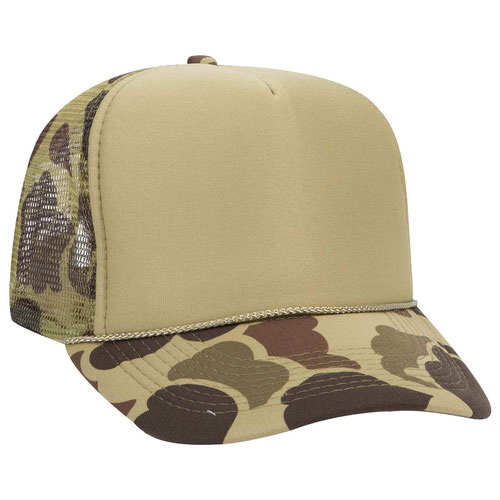 88246174262 Opentip.com  Custom 49-158 Camouflage Polyester Foam Front High Crown Golf  Style Mesh Back Cap with Plastic Adjustable Snap