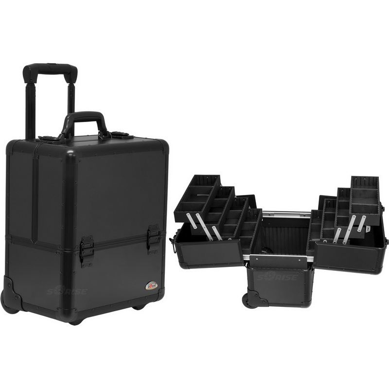 50b6e03717 Opentip.com  Sunrise C6033PPAB Black Smooth Trolley Makeup Case - C6033