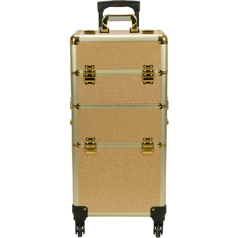 36c387ce119c Hiker Gold Krystal Pattern 4 Wheels Detachable Professional Rolling  Aluminum Cosmetic Makeup Case and Easy Slide & Extendable Trays with  Dividers ...