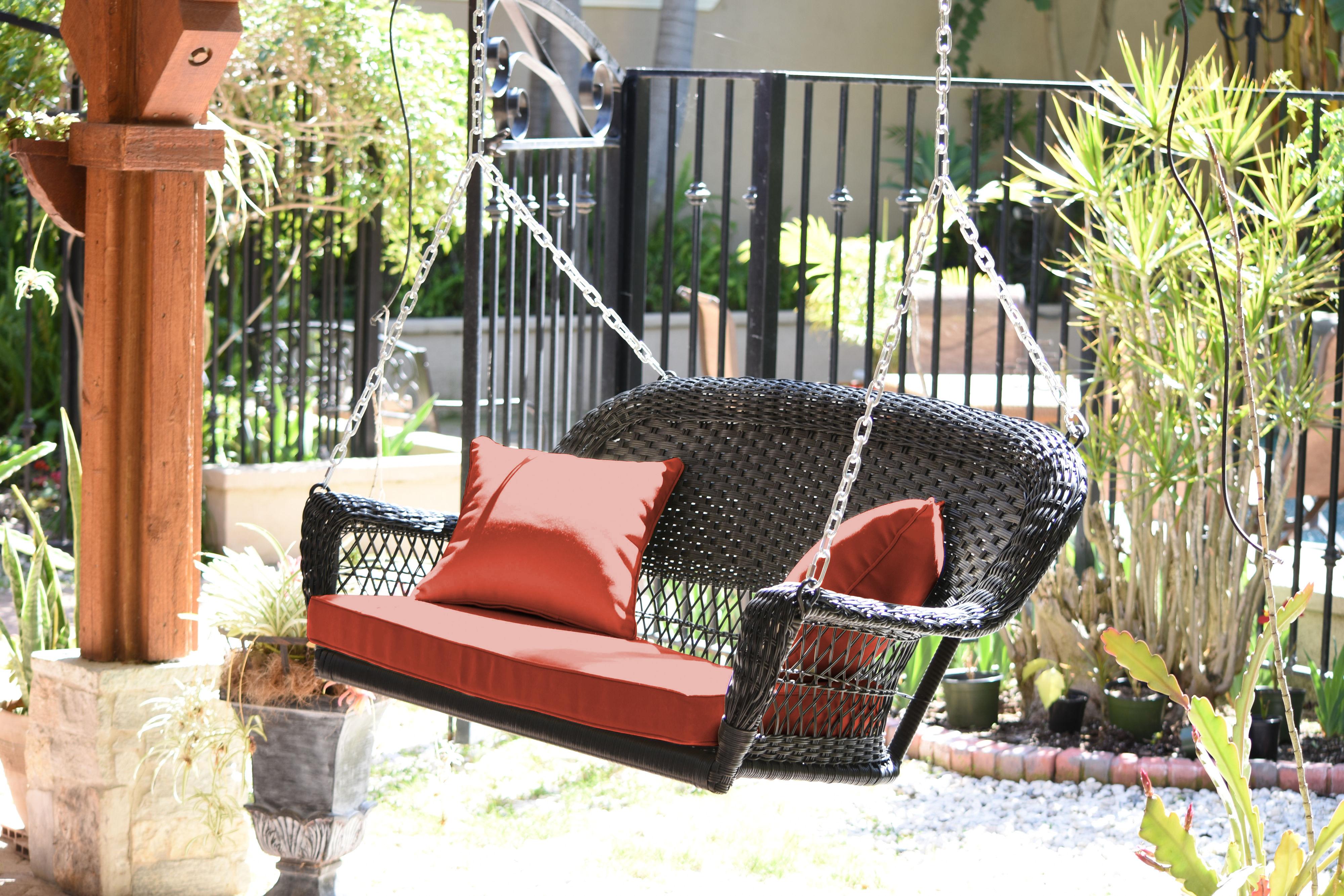 Jeco W00207S-D-FS007 Wicker Porch Swing Black