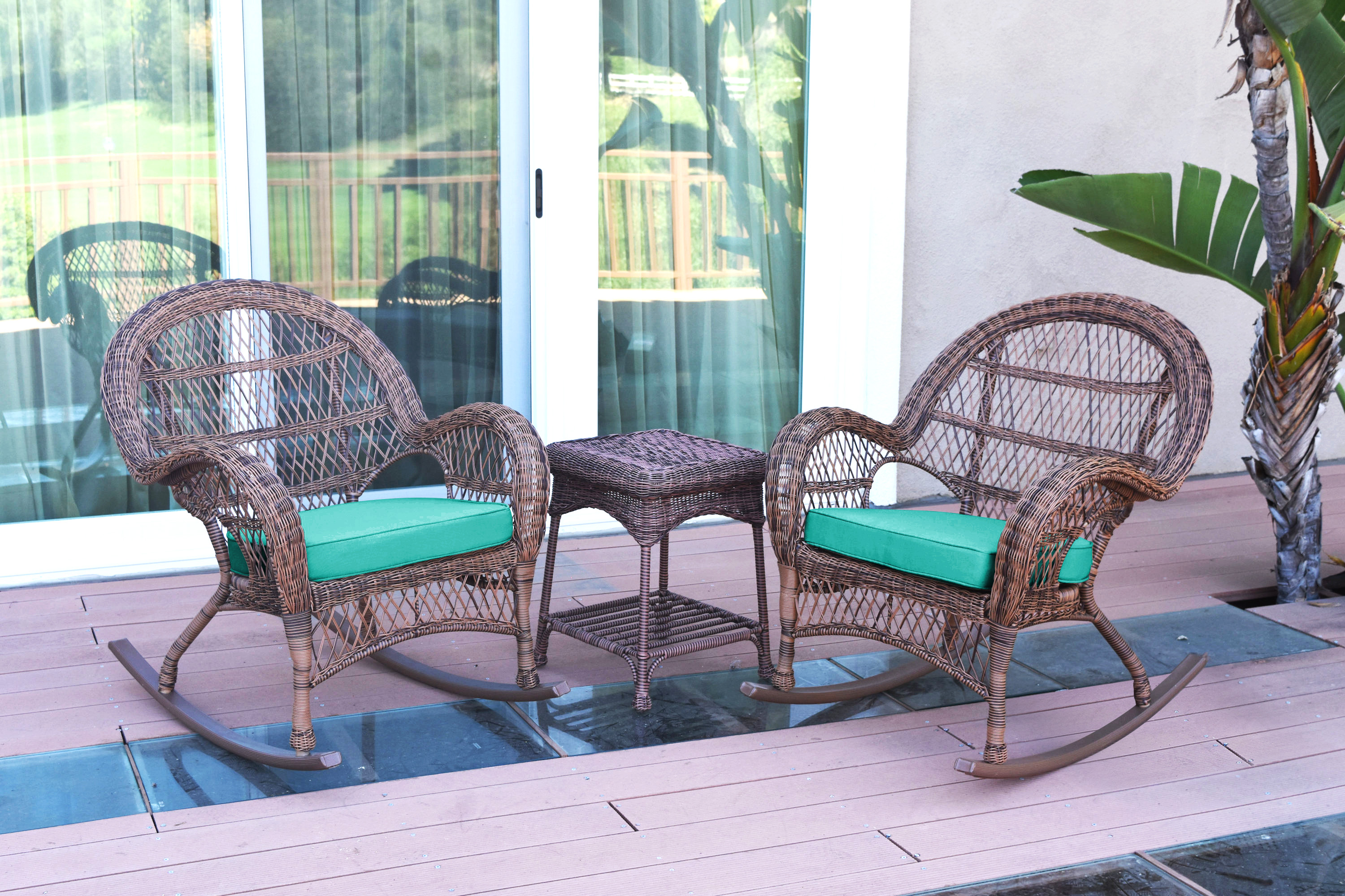 Black Jeco W00207R-D/_2-RCES029 3 Piece Rocker Wicker Chair Set with with Green Cushion