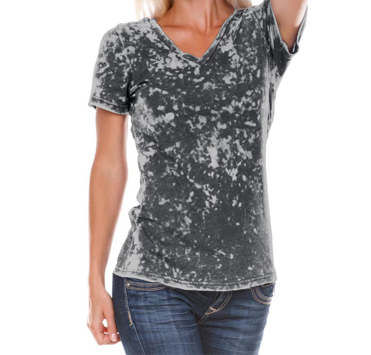 Kavio Women Burnout Crystal Wash Twisted V Neck Long Sleeve