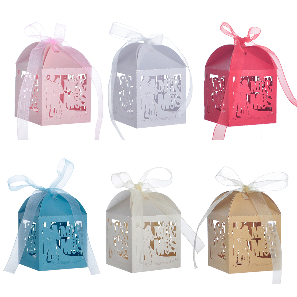Opentip.com: Aspire 50 Pcs / Pack Laser Cut Favor Boxes Mr & Mrs ...