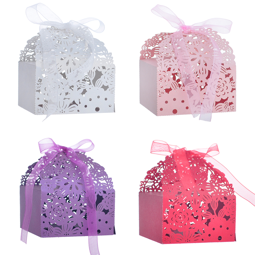 Opentip.com: Aspire 50 Pcs / Pack Flower Laser Cut Favor Boxes Party ...