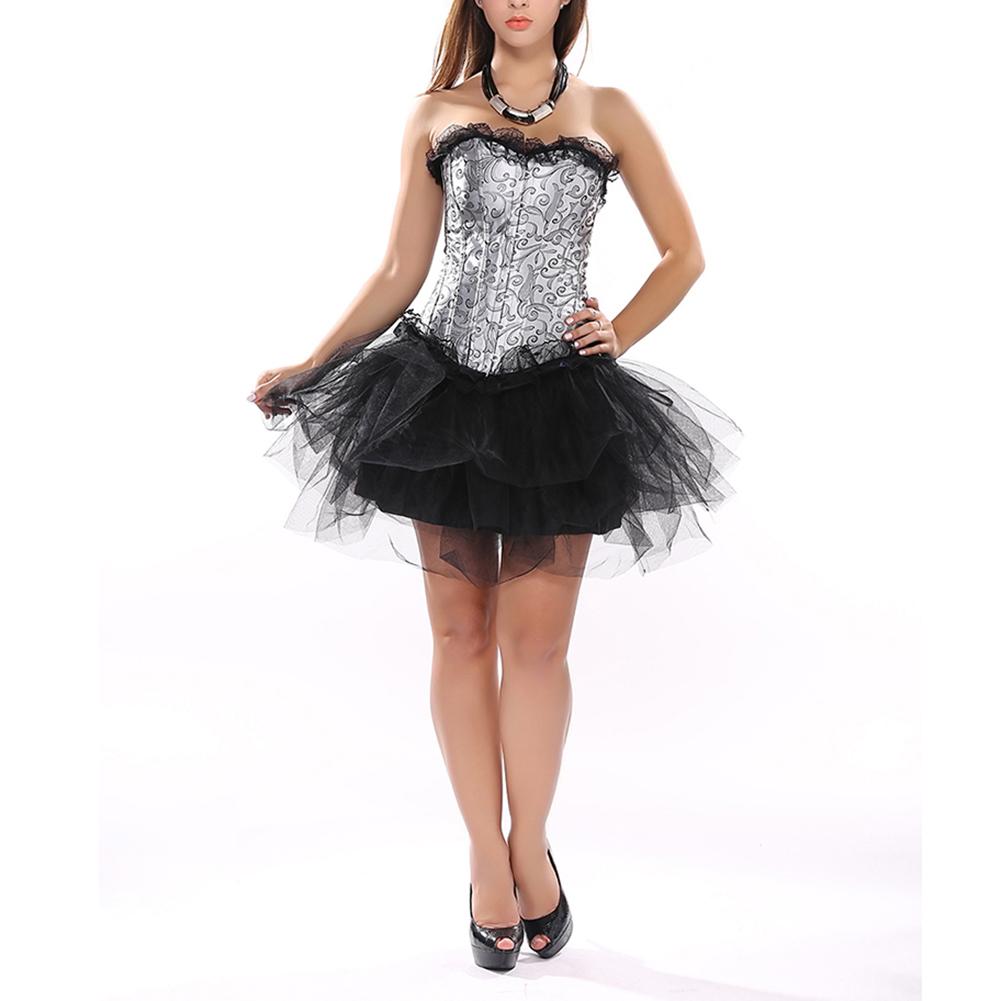 Muka Women Overbust Lace Boned Corset Bustier Halloween Corset