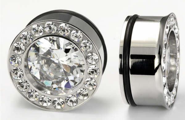 "Painful Pleasures P150 Single Flare BLING Plugs High Polish Steel Ear Jewelry 0g - 1"" - Price Per 1"