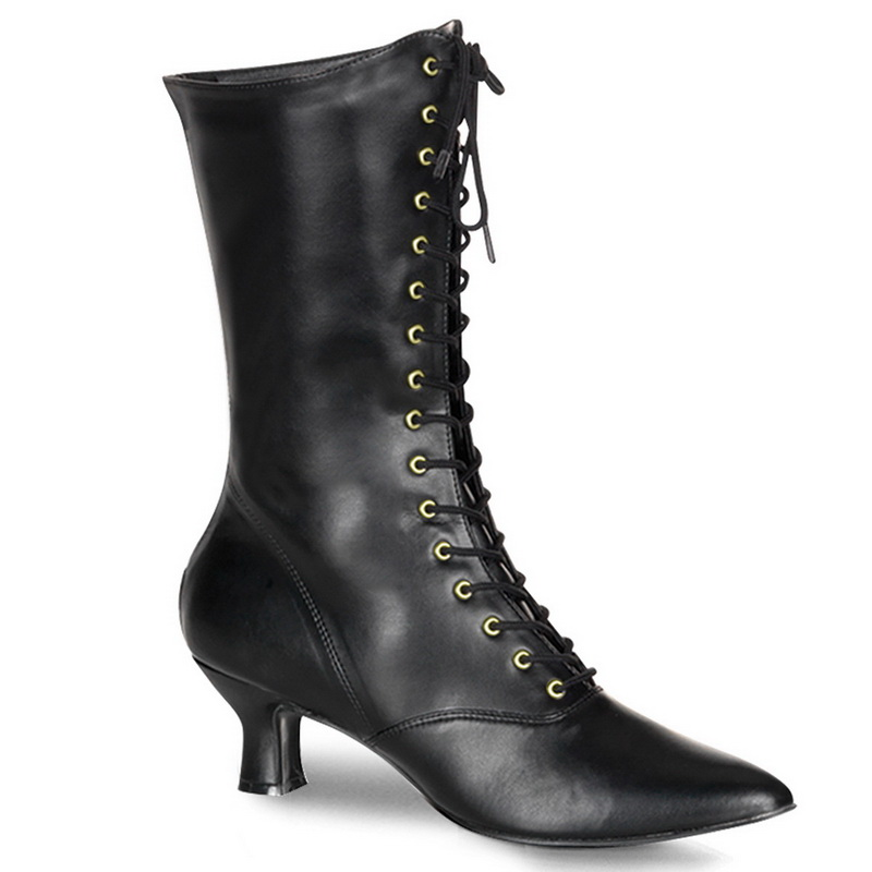 Funtasma VICTORIAN-122 2 3/4 Inch Heel, Front Lace Up Mid-Calf Witch Boot, Side Zip