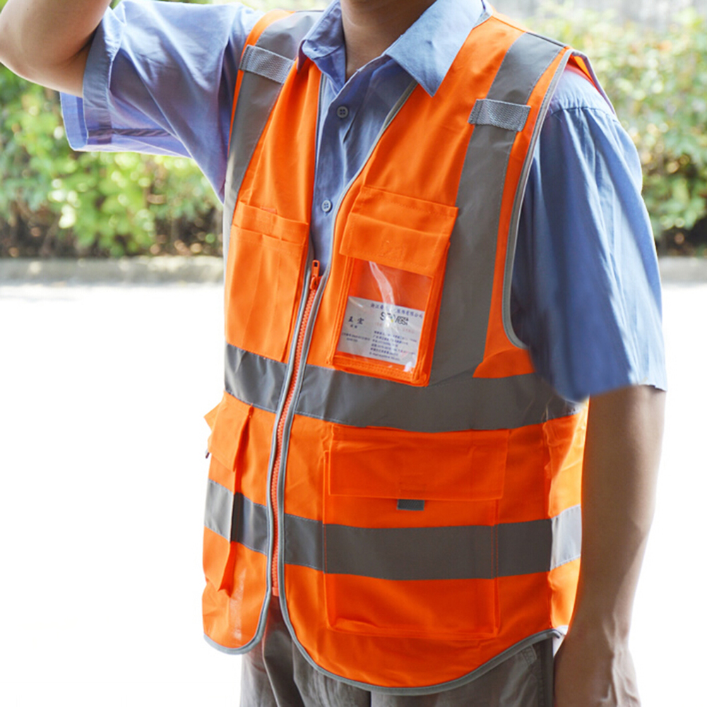 GOGO High Visibility Zipper Front Safety Vest with 4 Pockets, with Cardholder