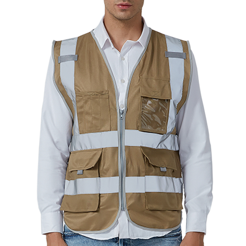 GOGO 9 Pockets High Visibility Zipper Front Safety Vest With Reflective Strips