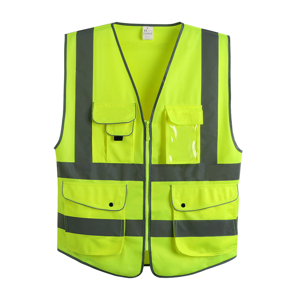 GOGO 7 Pockets High Visibility Zipper Front Safety Vest With Reflective Strips