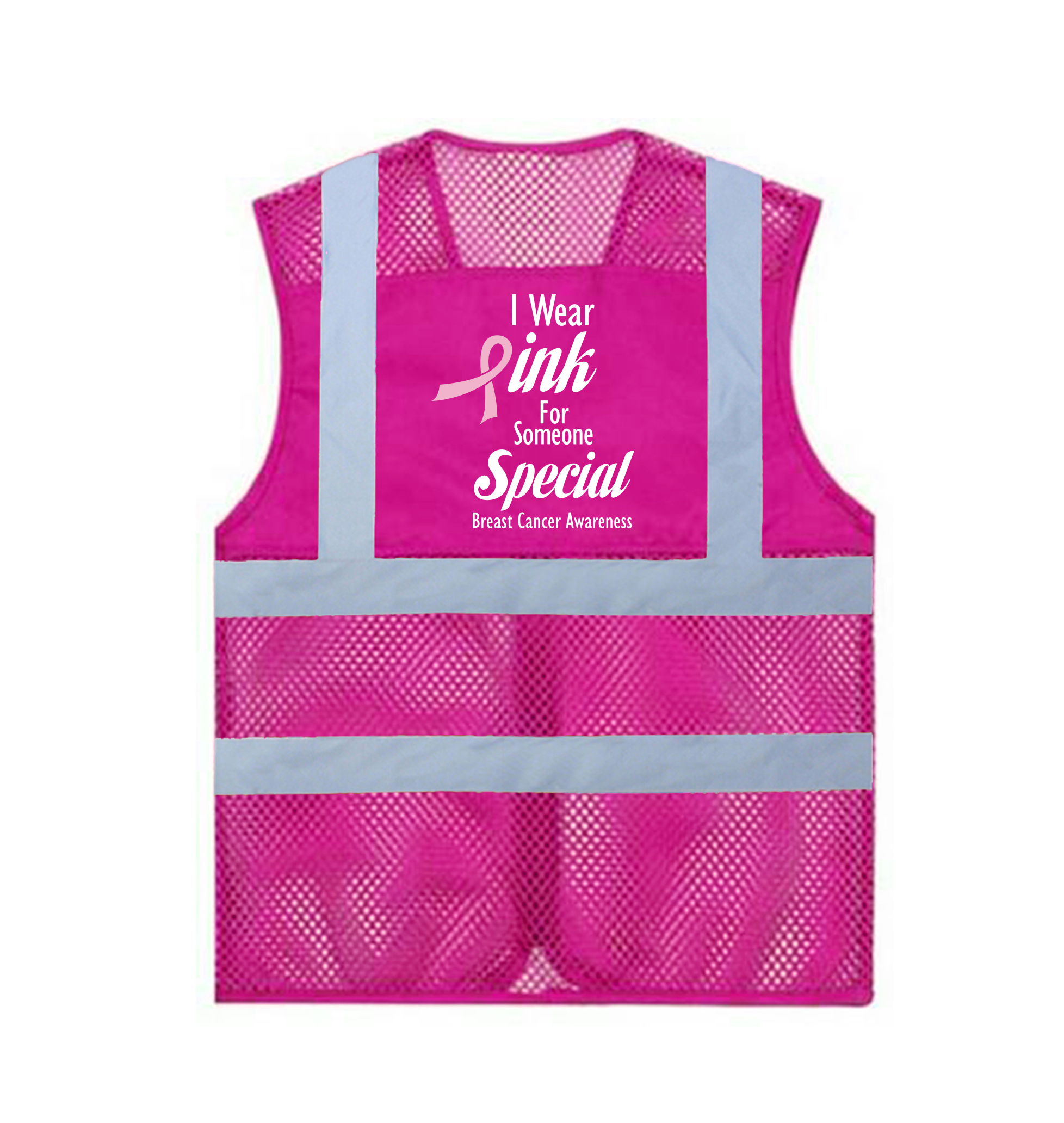 GOGO Custom Your Own Vest - Zipper Breathable Hotpink Safety Vest with High Visibility Strips