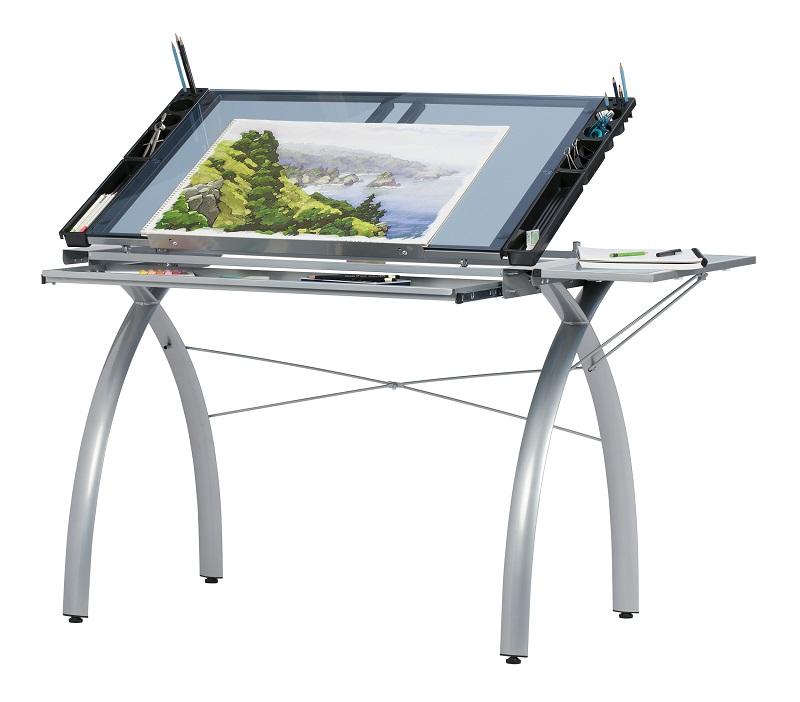 Stupendous Studio Designs 10095 Futura Craft Station With Folding Shelf Silver Blue Glass Bralicious Painted Fabric Chair Ideas Braliciousco