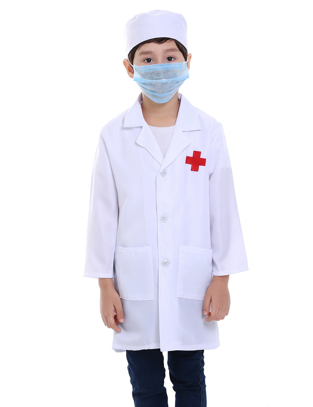 Child Boys Girls Jacket Kid Doctor Dr White Lab Coat Dentist Scientist Costume