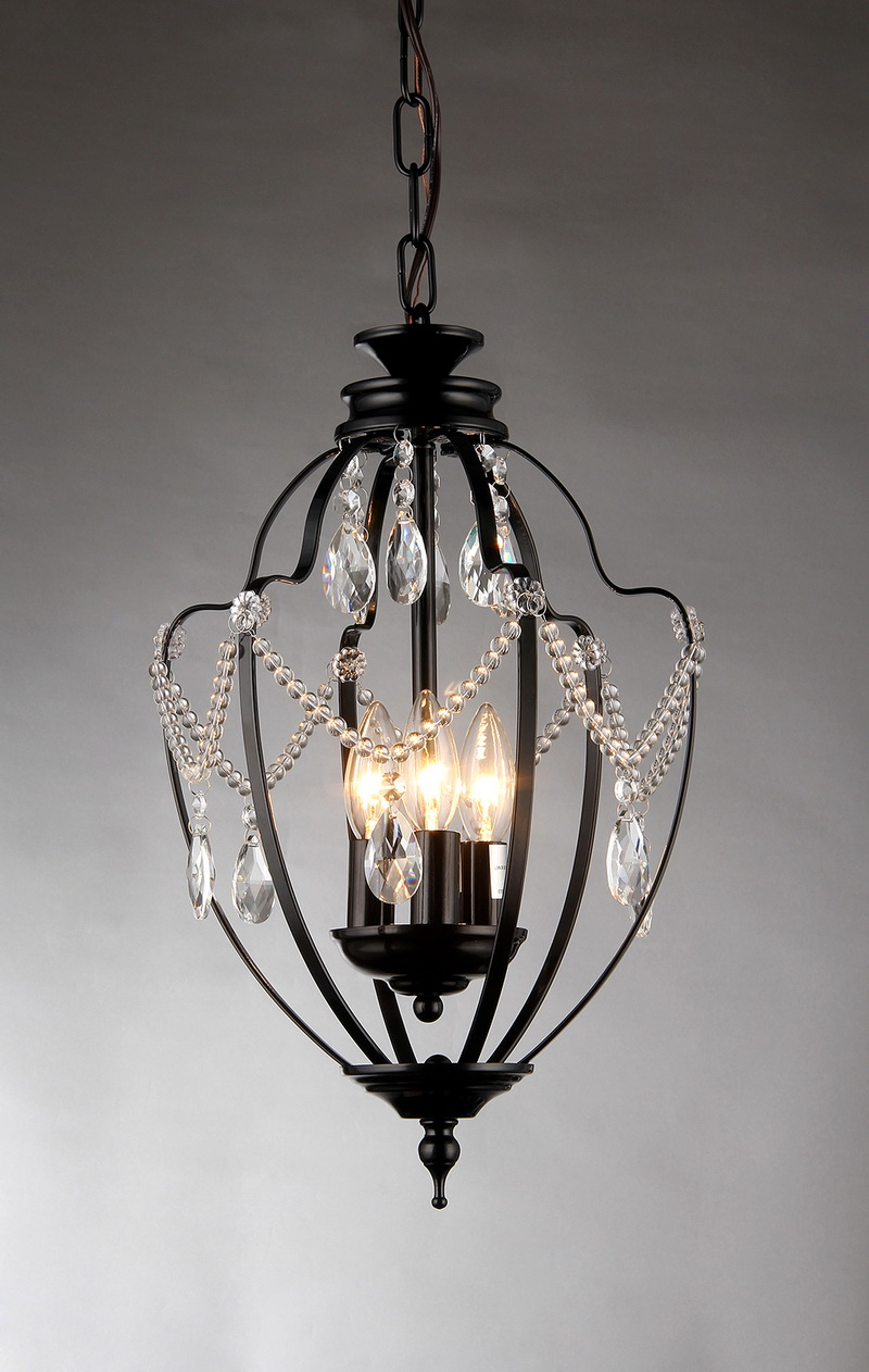 Opentip Com Warehouse Of Tiffany Rl8039 Kennedy 3 Light Black Finish 11 Inch Crystal Chandelier