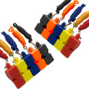 TOPTIE 10 PCS Pealess Whistles with Breakaway Lanyards for Outdoor SurvivalLifeguard Emergency