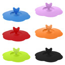 TOPTIE 6 PCS Colorful Heart-shaped Silicone Cup Lids, Coffee Mug Cover with Spoon Handle