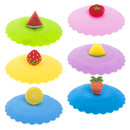 TOPTIE 6 PCS Silicone Cup Lids, Lovely Fruit Mug Covers, Food Grade Silicone Lids for Coffee Mug