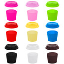 TOPTIE 6 Sets Silicone Cup Lids & Sleeves, Reusable BPA Free Covers, Insulated Non-slip Mug Sleeves