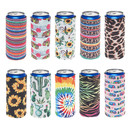 TOPTIE 10 PCS Mixed Slim Can Sleeves Skinny 12oz Neoprene Insulated Coolie Beer Can Cooler Covers