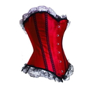 Satin Style Red & Black Fashion Boned Corset with Lace