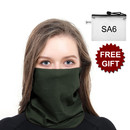 Opromo Seamless Face Scarf Blank Solid Neck Gaiter No Sew Bandana for Dust Outdoors with SA6 Zipper Bag, Green Color