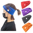 Headbands with Button Face mask Holder Sport Hair Band Knotted Stretchy Criss Cross Turban Headwrap Unisex Protective Bandana