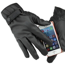 Black Stylish Men's Winter Motorcycle Gloves/ Leather Waterproof Windproof Gloves (Touch Screen)