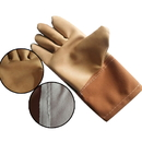 Brown Leather Safety Welder Work Gloves Long Sleeves, Prevent Sparks Splashing and Heat Resistant, Long Sleeves