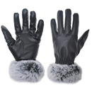 Opromo Women Winter Touchscreen Gloves Warm PU Leather Rabbit Fur Driving Gloves