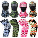 Opromo Unisex UV Protection Neck Gaiter Camo Balaclava Face Cover Cooling Camo Arm Sleeve Set for Cycling Hiking Outdoor Sports