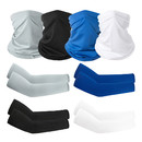 Opromo Unisex UV Protection Neck Gaiter Balaclava Face Cover Cooling Arm Sleeve Set for Cycling Hiking Outdoor Sports