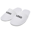 Custom Embroidery Waffle Slippers Closed Toe Adults Cloth Spa Hotel Slipper