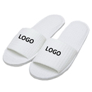 Custom Embroidery Waffle Open Toe Adults Slippers Cloth Spa Hotel Unisex Slippers