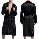 TOPTIE Men's Silky Robe,Satin Silk Bathrobe Kimono Long Sleeves Nightgown Sleepwear Loungewear Pajama with Belt for Men