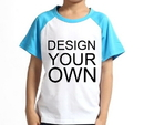 Custom Opromo Youth Cotton Short Sleeve Baseball Raglan, 5.3oz