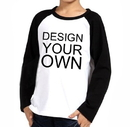 Custom Opromo Youth Cotton Long Sleeve Baseball Raglan, 5.3oz