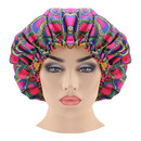 Satin Lined Bouffant Hair-Dyeing Bonnet Banded Adjustable Scrub Hat Sleep Cap African Print Fabric Ankara Ladies Turban