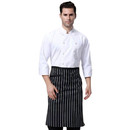 Opromo Unisex Chalk Strip Long Bistro Apron with One Pocket, 27 1/2