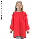 Blank Kids Solid Color Waterproof Long Sleeved Paint Smock with One Front Pocket, Various Colors